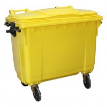 Yellow 660 Litre Wheelie Bin