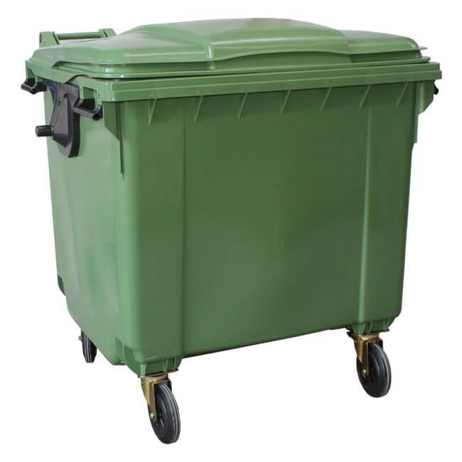 Green 1100 Litre Wheelie Bin