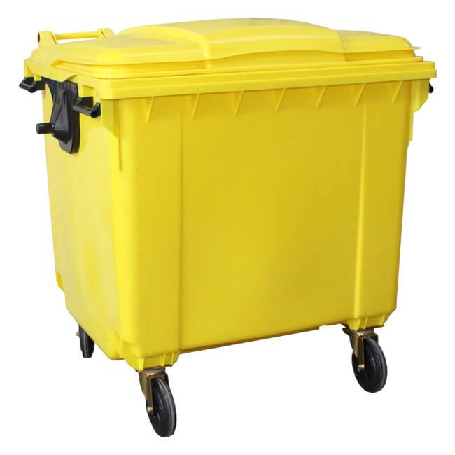 Yellow 1100 Litre Wheelie Bin