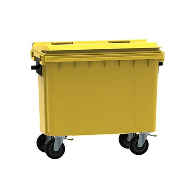 Yellow 500 Litre Wheelie Bin