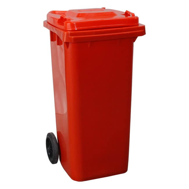 Red 120 Litre Wheelie Bin