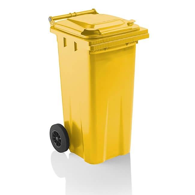Yellow 120 Litre Wheelie Bin