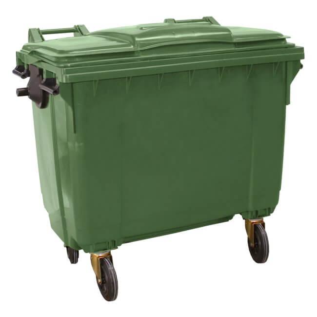 Green 660 Litre Wheelie Bin