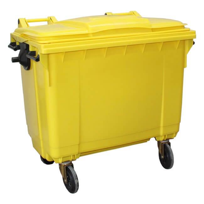 Yellow 660 Litre Wheelie Bin